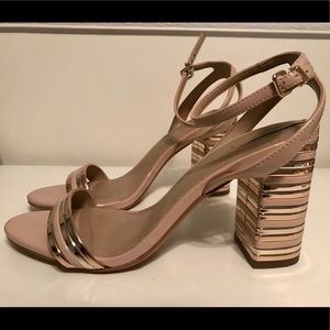 Nude & Rose Gold Chunky Heels